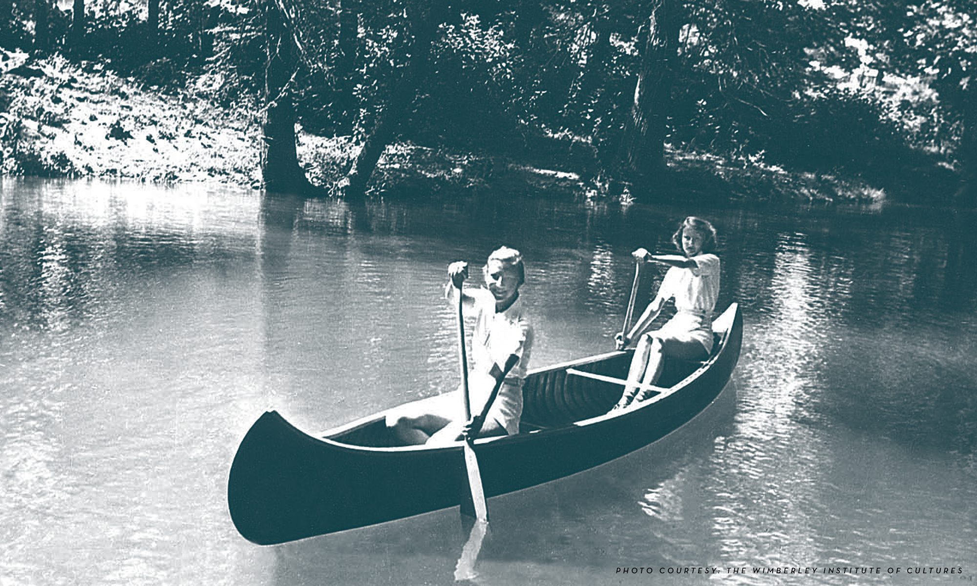 Vintage Blue Hole girls in a canoe